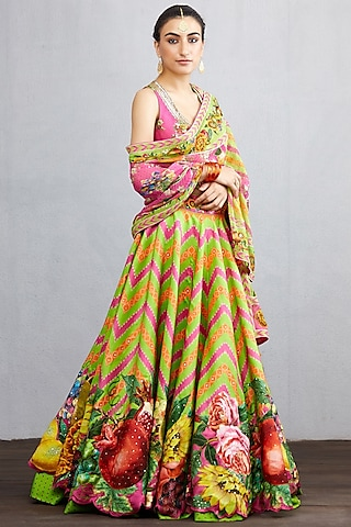 Green Printed & Embroidered Lehenga Set by TORANI