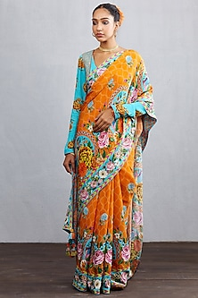 Orange Hand Embroidered & Printed Saree Set by TORANI
