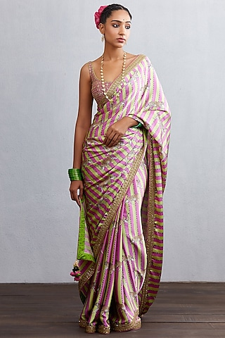 Pink Hand Embroidered Saree Set by TORANI