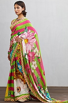 Green & Pink Printed Saree Set by TORANI