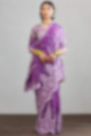 Purple Hand Embroidered Saree Set by TORANI