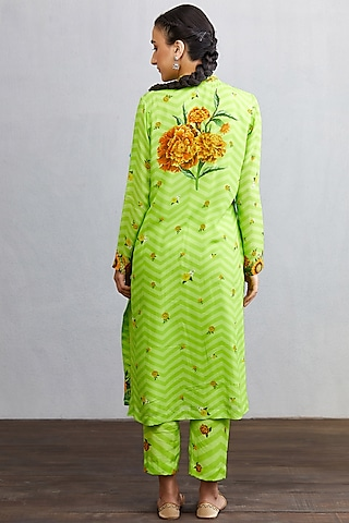 Green Printed Kurta Set by TORANI