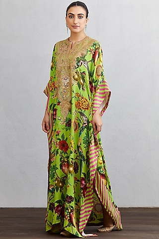 Green & Pink Embroidered Kaftan by TORANI