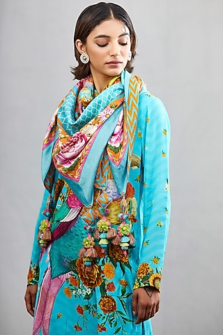 Blue Big Bunch Scarf by TORANI