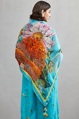 Blue Floral Printed Scarf by TORANI