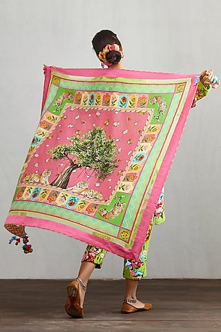 Pink Tiger & Tree Printed Scarf by TORANI