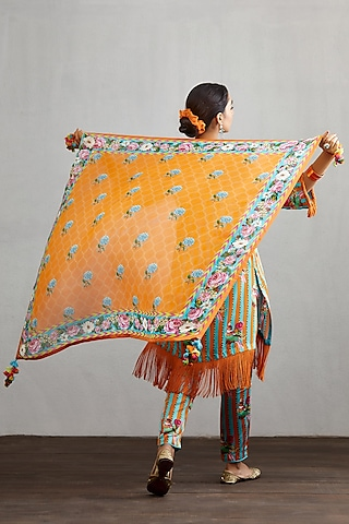 Orange Printed & Embroidered Scarf by TORANI