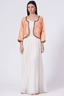 Off White Hand Embroidered & Block Printed Dress by TORANI