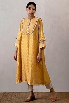Yellow Embroidered & Block Printed Kurta by TORANI