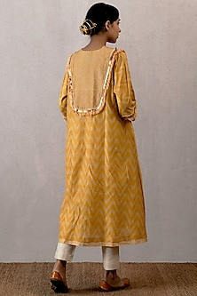 Yellow Embroidered & Block Printed Kurta by TORANI