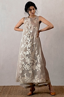 Grey Embroidered & Block Printed Kurta by TORANI