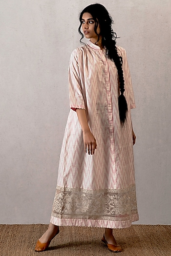 Pink Embroidered & Block Printed Dress by TORANI