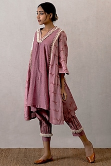 Pink Block Printed Gherdaar Kurta With Pleated Pants by TORANI