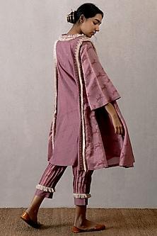 Pink Block Printed Gherdaar Kurta With Pleated Pants by TORANI