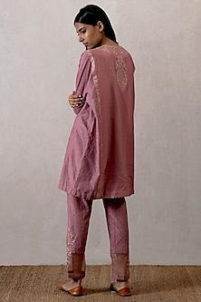 Pink Aari Work Ikat Kurta by TORANI