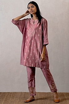 Pink Embroidered & Block Printed Pants by TORANI