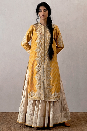 Yellow Ikat Embroidered Kurta by TORANI