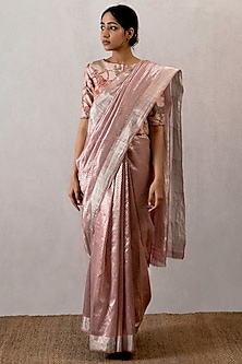 Pink Handwoven Saree by TORANI