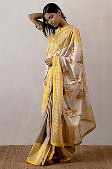 Yellow Digital Printed Saree by TORANI