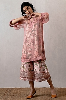 Pink Kurta With Slip & Embroidered Pants by TORANI