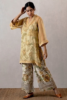 Yellow Kurta With Slip & Embroidered Pants by TORANI