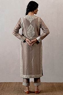 Grey Chanderi Block Printed Kurta With Pants by TORANI