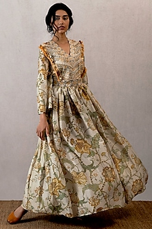 Yellow Embroidered Ghera Dress by TORANI