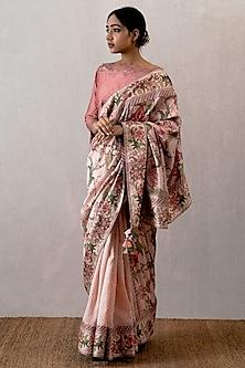 Pink Digital Printed Chanderi Saree by TORANI