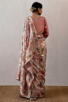 Pink Digital Printed Chanderi Saree by TORANI
