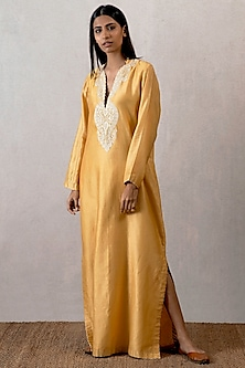 Yellow Embroidered Long Kaftan by TORANI