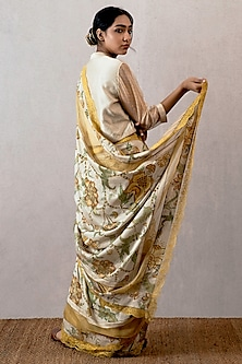 Yellow Block Printed & Embroidered Saree by TORANI