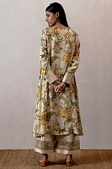 Yellow Digital Printed Chanderi Kurta by TORANI