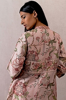 Pink Beaded Overlay Shrug Jacket by TORANI
