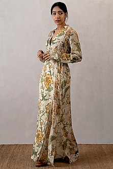 Yellow Cotton Silk Digital Printed Kaftan by TORANI