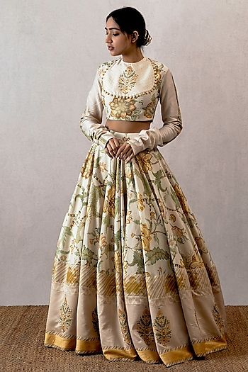 Yellow Aari Work Lehenga Skirt With Blouse by TORANI