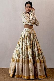 Yellow Aari Work Lehenga Skirt With Blouse by TORANI