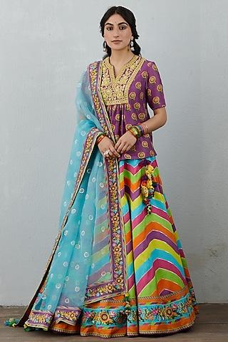 Multi Colour Hand Embroidered Lehenga Set by TORANI