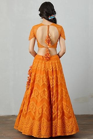 Orange Embroidered Lehenga Set by TORANI
