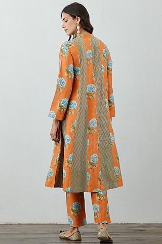 Orange Chanderi Kurta Set by TORANI