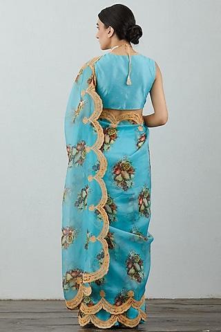 Blue Scallop Embroidered Saree Set by TORANI