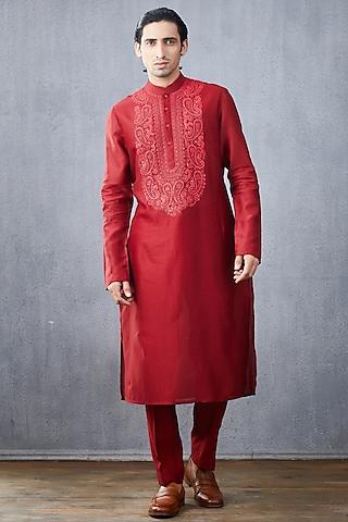 Red Embroidered Kurta Set by Torani Men