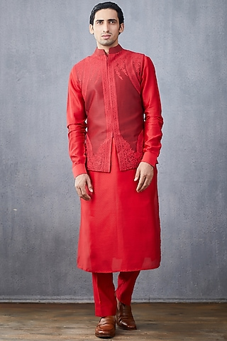 Red Embroidered Kurta Set With Jacket by Torani Men