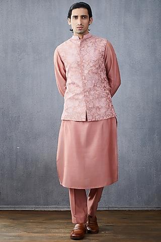 Blush Pink Chanderi Kurta Set by Torani Men