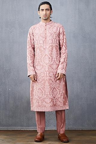 Blush Pink Embroidered Kurta Set by Torani Men
