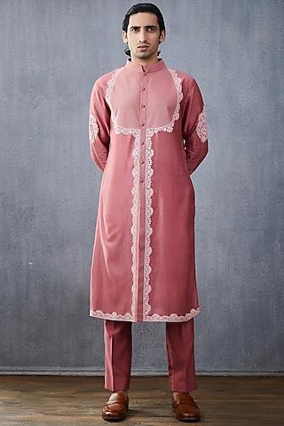 Pink Embroidered Kurta Set by Torani Men