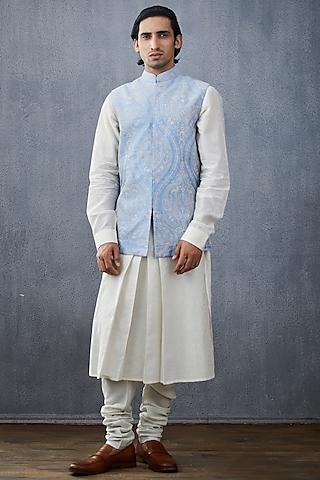 White & Powder Blue Jacket Set by Torani Men
