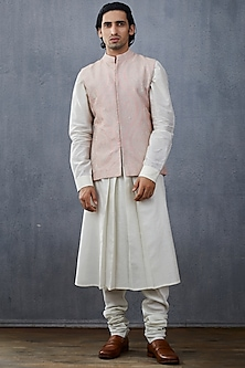 White & Blush Pink Jacket Set by Torani Men