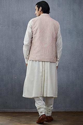 White & Blush Pink Jacket Set by Torani Men
