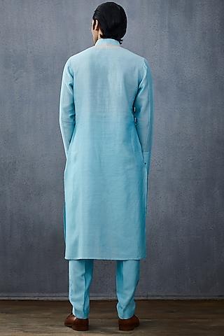 Powder Blue Embroidered Kurta Set by Torani Men