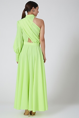 Neon Green One-Shoulder Dress by Three Piece Company